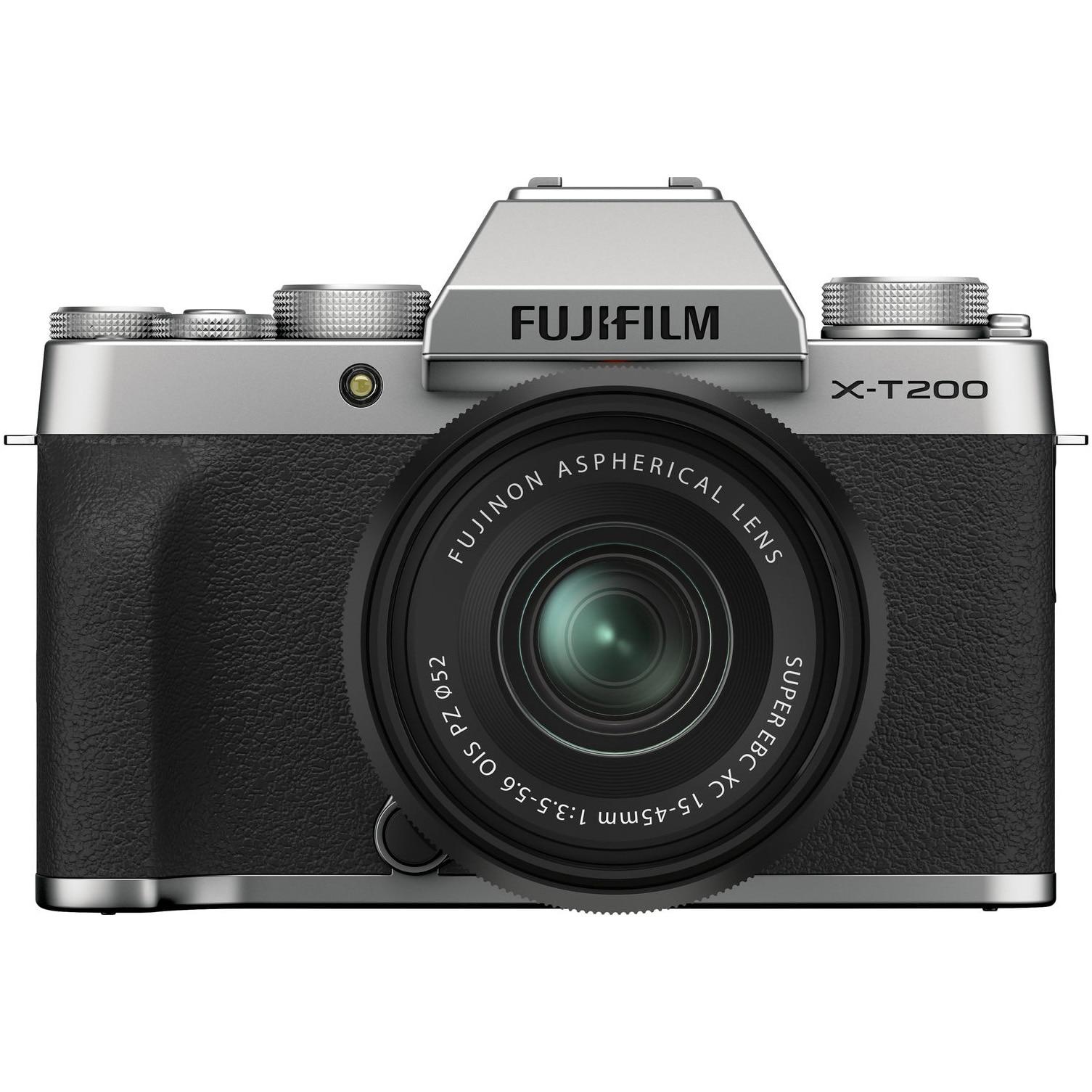 Fotografie Aparat foto Mirrorless Fujifilm X-T200, 24.2 MP, 4K, Silver + Obiectiv XC 15-45 mm