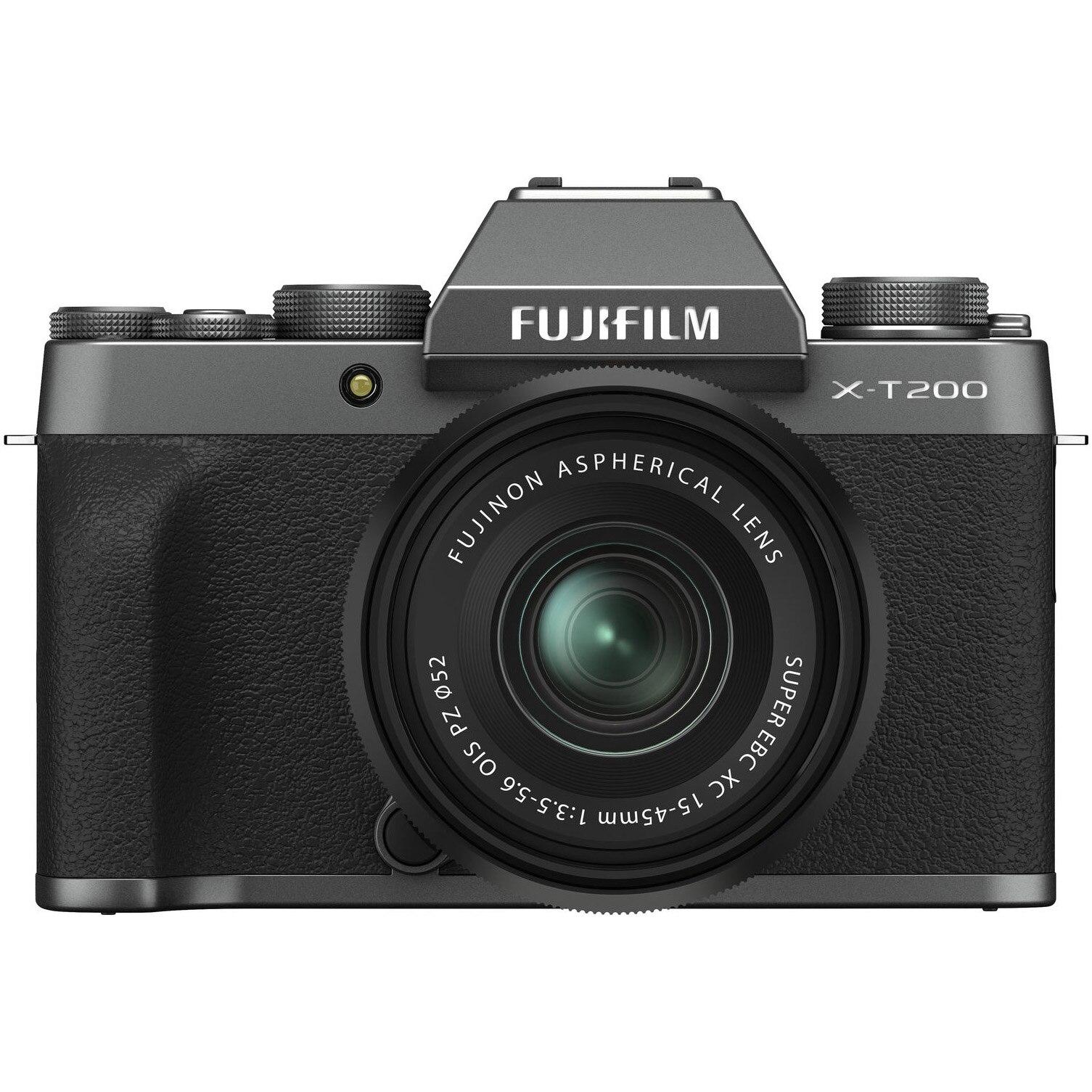 Fotografie Aparat foto Mirrorless Fujifilm X-T200, 24.2 MP, 4K, Dark Silver + Obiectiv XC 15-45 mm