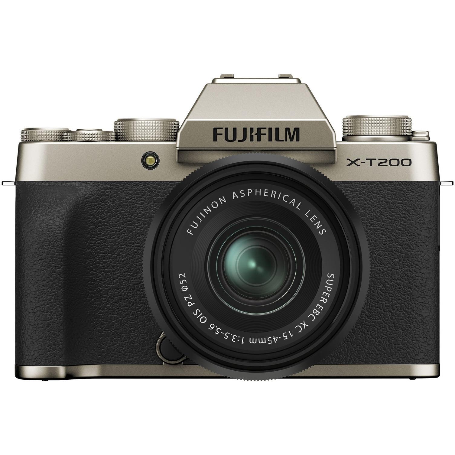 Fotografie Aparat foto Mirrorless Fujifilm X-T200, 24.2 MP, 4K, Champagne Gold + Obiectiv XC 15-45 mm
