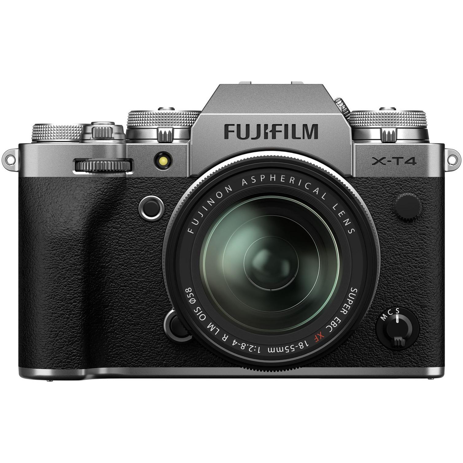 Fotografie Aparat foto Mirrorless Fujifilm X-T4, 26.1 MP, 4K, Silver + Obiectiv XF 18-55 mm