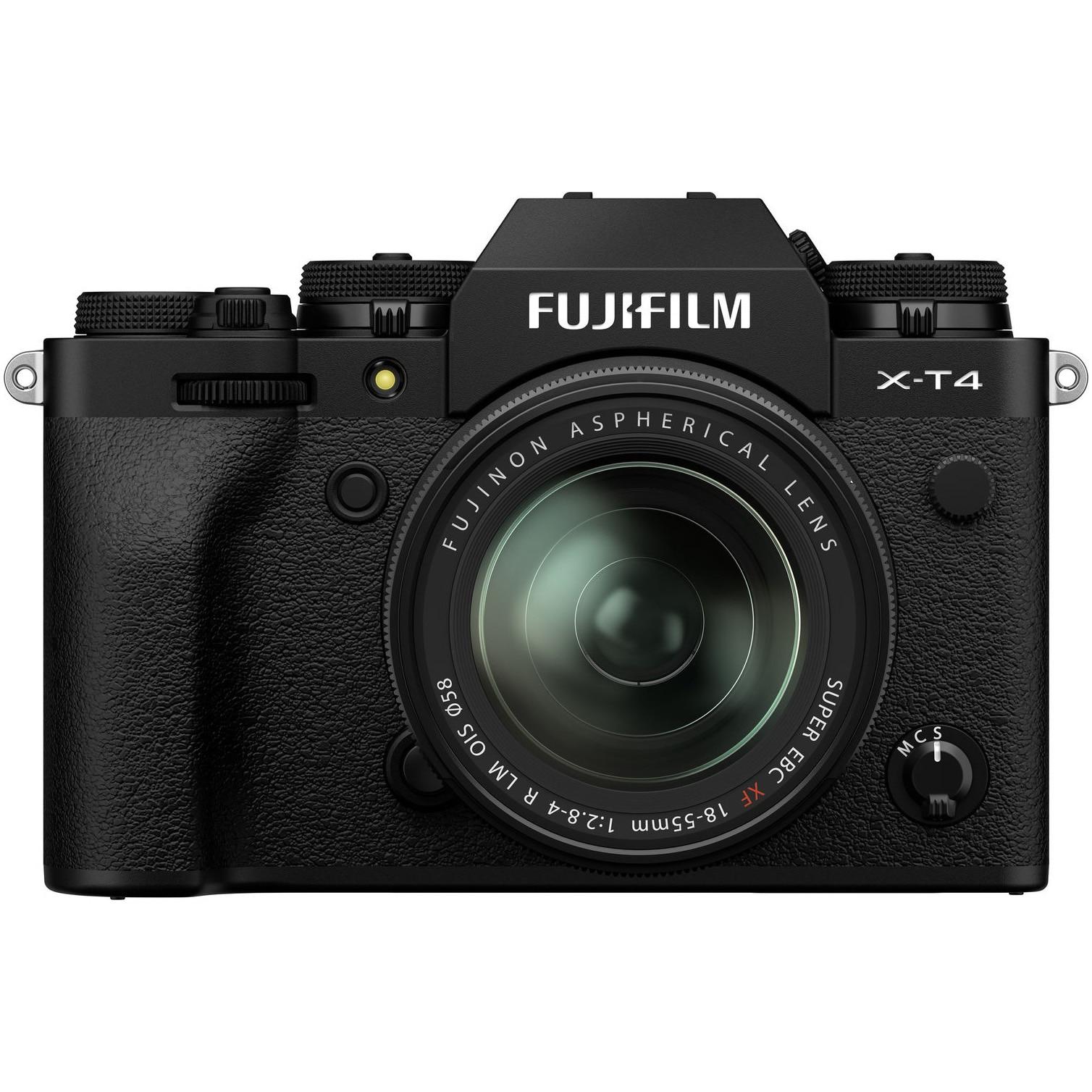 Fotografie Aparat foto Mirrorless Fujifilm X-T4, 26.1 MP, 4K, Black + Obiectiv XF 18-55 mm