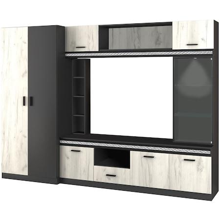 Комплект мебели за дневна Irim BlackWhite, 260x52x190 см, Black Shagra, White Oak