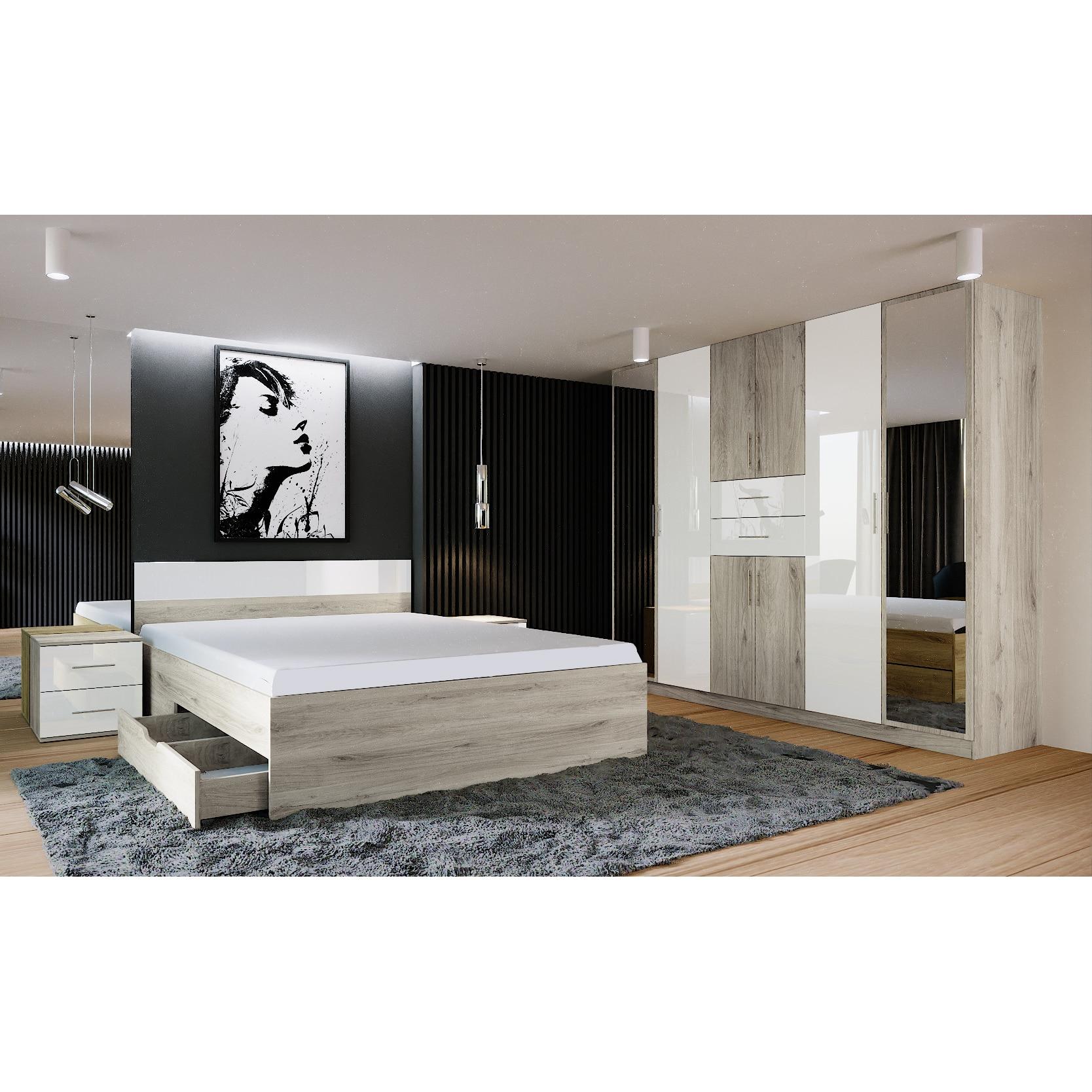 Fotografie Dormitor Irim Marisa , Pat 160x200 cm, Dulap, 2 Noptiere, Culoare Sonoma/Alb