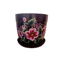 Ghiveci flori cu farfurie si orificiu scurgere, gradina/foisor/balcon, ceramica, accesorii/ornament, 13 x 13, pictat manual negru