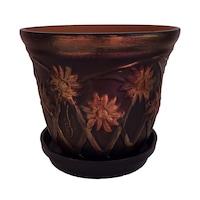 Ghiveci flori cu farfurie si orificiu scurgere, gradina/foisor/balcon, ceramica, accesorii/ornament, 17 x 20, pictat manual negru