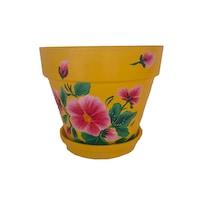 Ghiveci flori cu farfurie si orificiu scurgere, gradina/foisor/balcon, ceramica, accesorii/ornament, 12 x 15, pictat manual galben