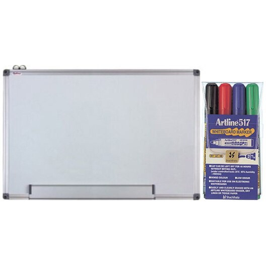 Fotografie Tabla magnetica Optima 100 x 150 cm, cu rama din aluminiu + set markere EK-517/4W