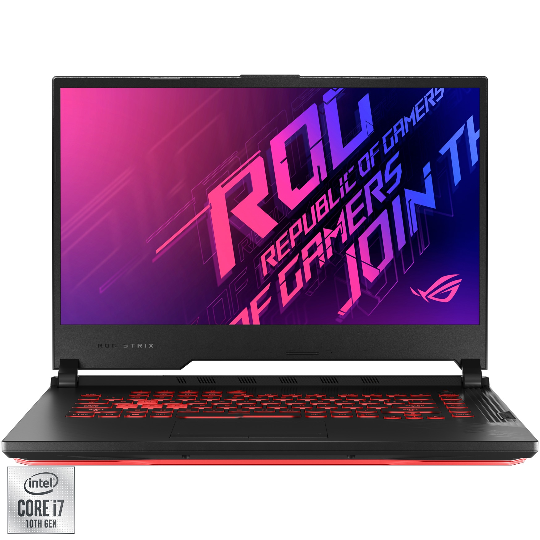 "Fotografie Laptop Gaming ASUS ROG Strix G15 G512LI cu procesor Intel® Core™ i7-10750H pana la 5.00 GHz, 15.6"", Full HD, 144Hz, 8GB, 1TB SSD, NVIDIA® GeForce® GTX 1650 Ti 4GB, Free DOS, Black"