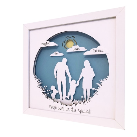 Tablou 3D, luminos, personalizabil pentru nasi, Noor Handmade Atelier, 25 x 25cm