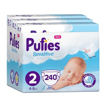Пелени Pufies Sensitive, 2 Mini, Месечен пакет, 4-8 кг, 240 броя