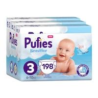 Pufies Sensitive Havi pelenkacsomag, 3-as méret, 198 db, 6-10 kg