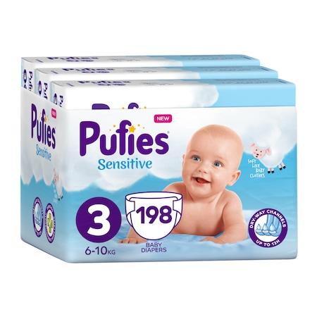 Пелени Pufies Sensitive, Размер 3 Midi, Месечен пакет, 6-10 кг, 198 броя