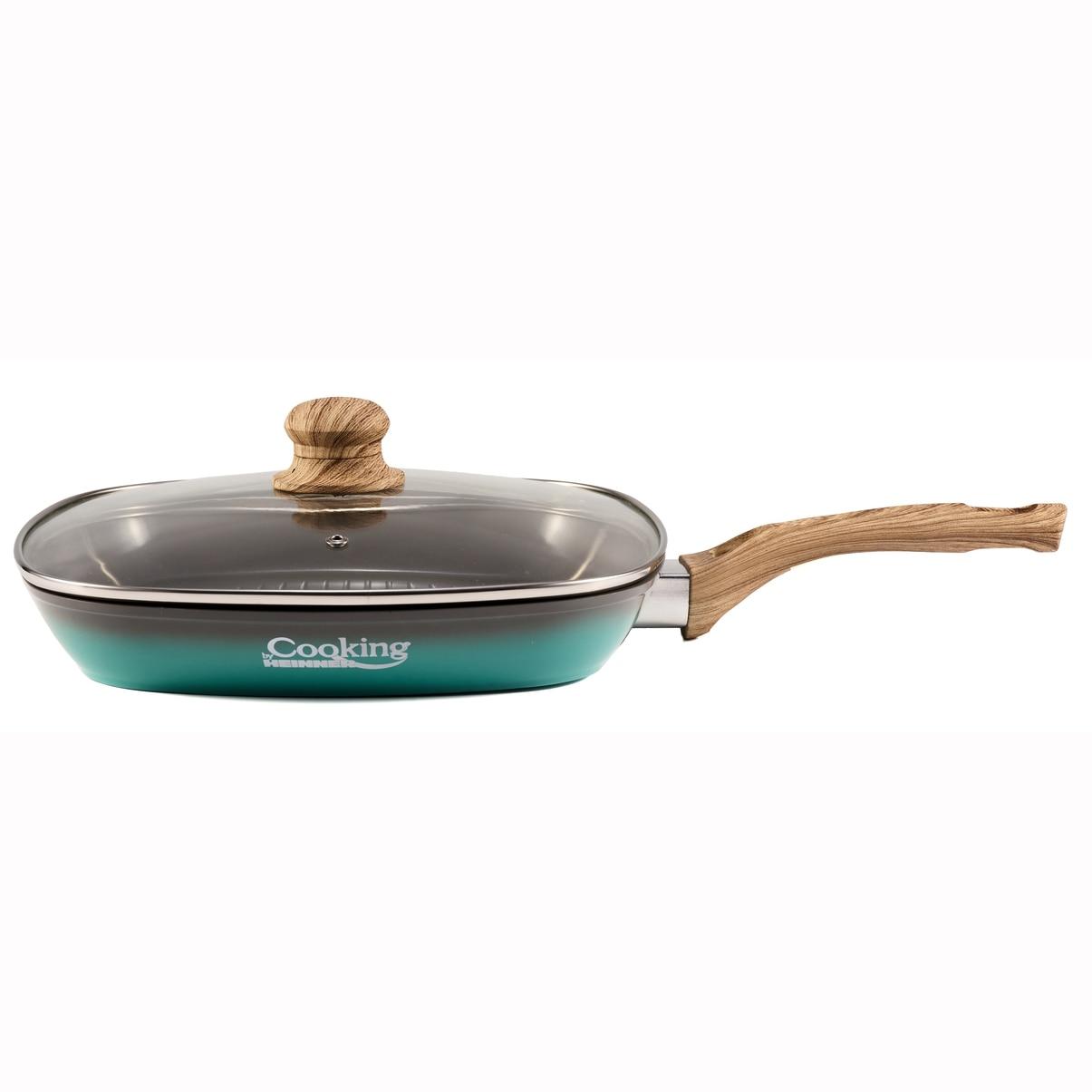 Fotografie Tigaie grill Cooking by Heinner Green Nature, cu capac, aluminiu, inductie, 28x4 cm