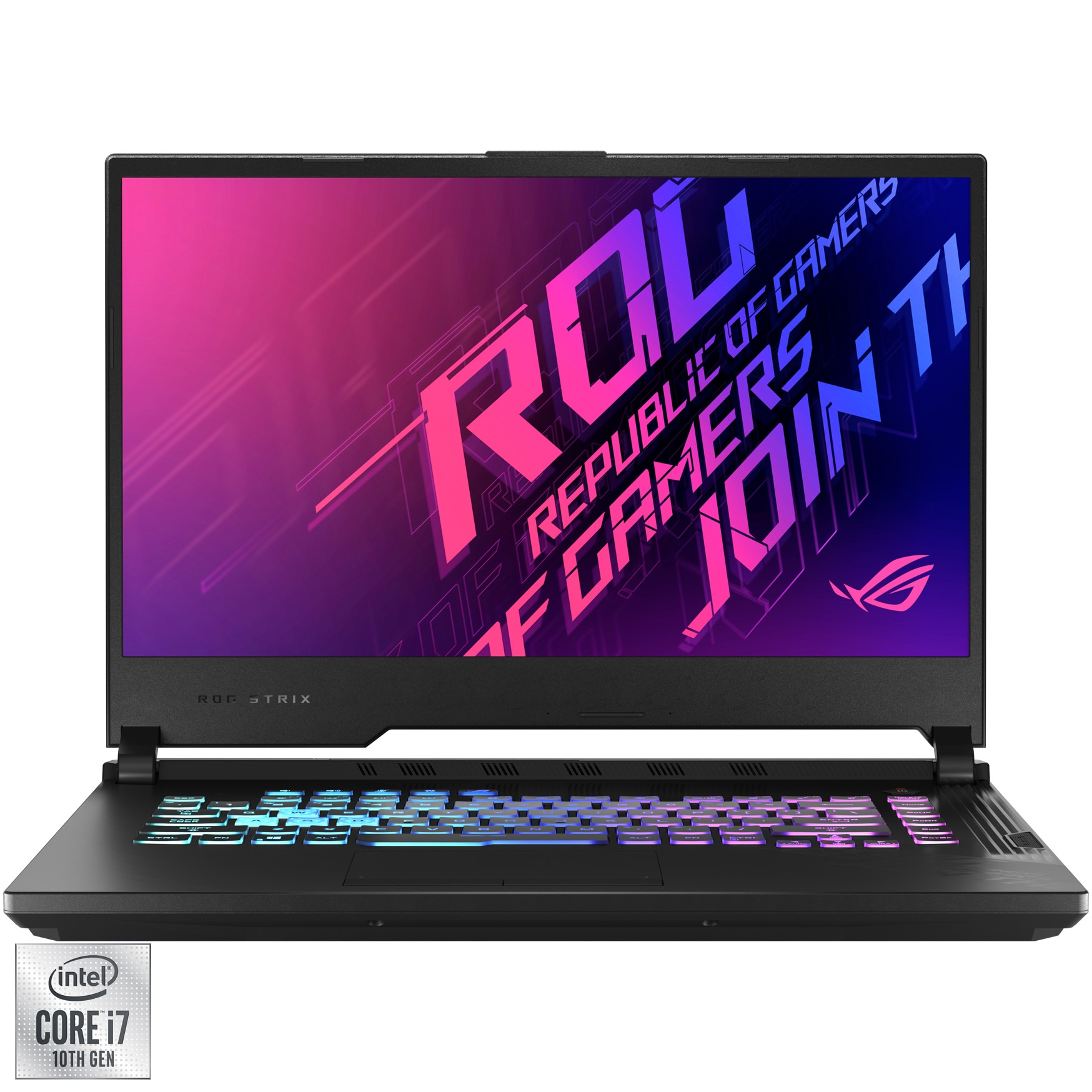 "Fotografie Laptop Gaming ASUS ROG Strix G15 G512LV cu procesor Intel® Core™ i7-10870H pana la 5.00 GHz, 15.6"" Full HD, 144Hz, 16GB, 512GB SSD, NVIDIA® GeForce RTX™ 2060 6GB, FreeDOS, Original Black"