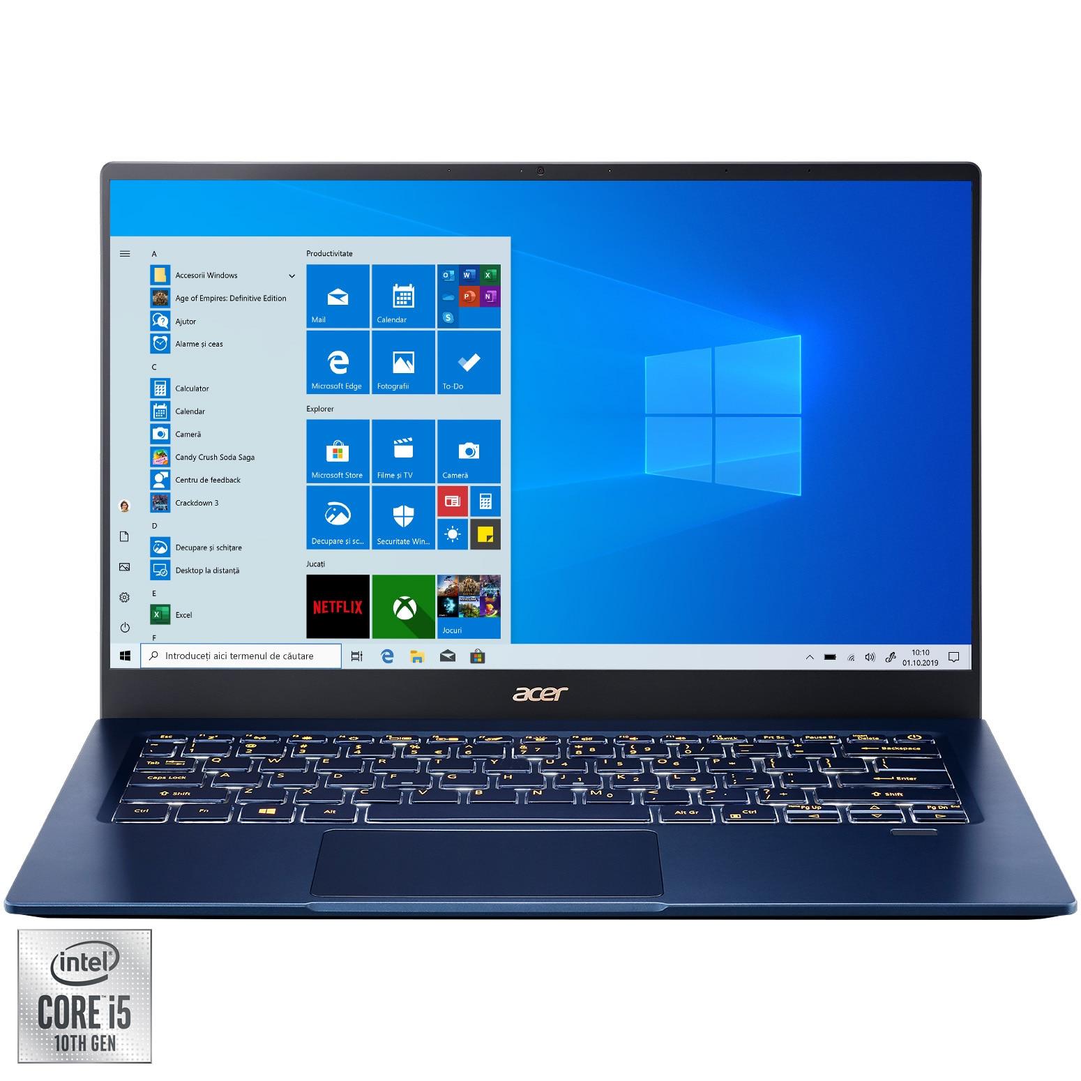 "Fotografie Laptop ultraportabil Acer Swift 5 SF514-54 cu procesor Intel® Core™ i5-1035G1 pana la 3.60 GHz, 14"", Full HD, Touch, 8GB, 256GB SSD, NVIDIA® GeForce® MX350 2GB, Windows 10 Pro, Blue"