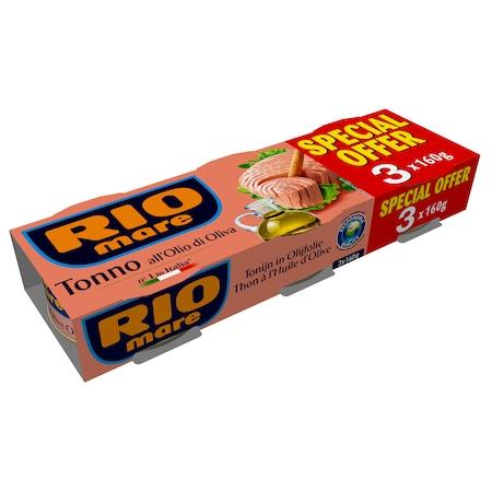 Ton in ulei masline Rio Mare 3x160g, 480g