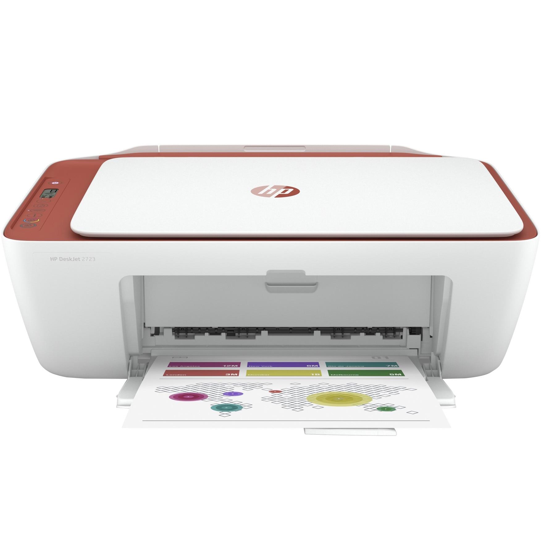 Fotografie Multifunctional inkjet color HP Deskjet 2723 All-in-One, eligibil Instant Ink, A4, Rosu