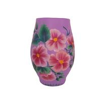 Vaza flori/Suport din ceramica, pictata manual, 17 x 8 cm, motiv floral, multicolor