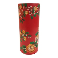 Vaza flori/Suport din ceramica, tub, pictata manual, 24 x 10 cm, motiv floral, multicolor
