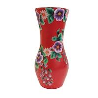 Vaza decorativa/Suport din ceramica, pictata manual, 30 x 12 cm, motiv floral, multicolor