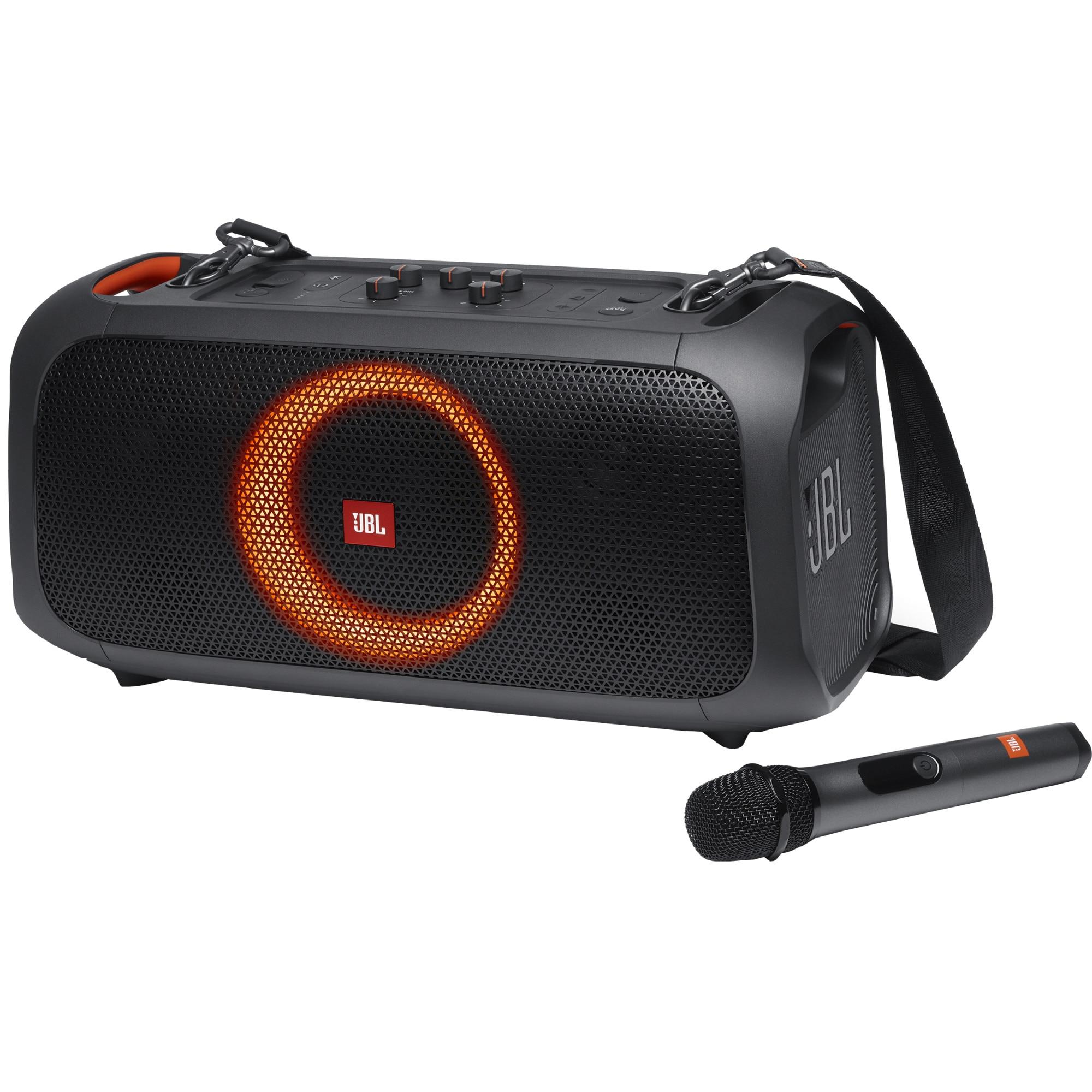Fotografie Boxa portabila JBL PartyBox On-The-Go, 100W, Bluetooth, Microfon Wireless, USB, IPX4, Light Show, Plug-n-play, Negru