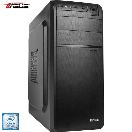 Fotografie Sistem Desktop PC Home/Office Serioux Powered by ASUS cu procesor Intel® Core™ i5-9400 pana la 4.10GHz, 8GB DDR4, 256GB SSD, Intel® UHD Graphics 630, Microsoft Windows 10 Pro preinstalat, Mouse + Tastatura wireless, scratch card Bitdefender Plus 2020 1 PC