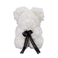 Rózsa maci csillogó strasszkövekkel, örök virág maci - fehér 25 cm