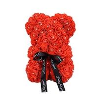 Rózsa maci csillogó strasszkövekkel, örök virág maci - piros 25 cm