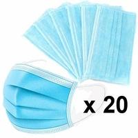 Szájmaszk, orvosi szájmaszk, egyszer használatos, 3 rétegű, 20 darabos csomag