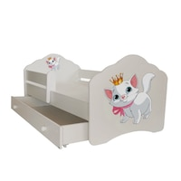 """Gyerekágy fiókkal, , védőkorlát , modell FALA , """"cat"""" 164x88x63, matrac"""