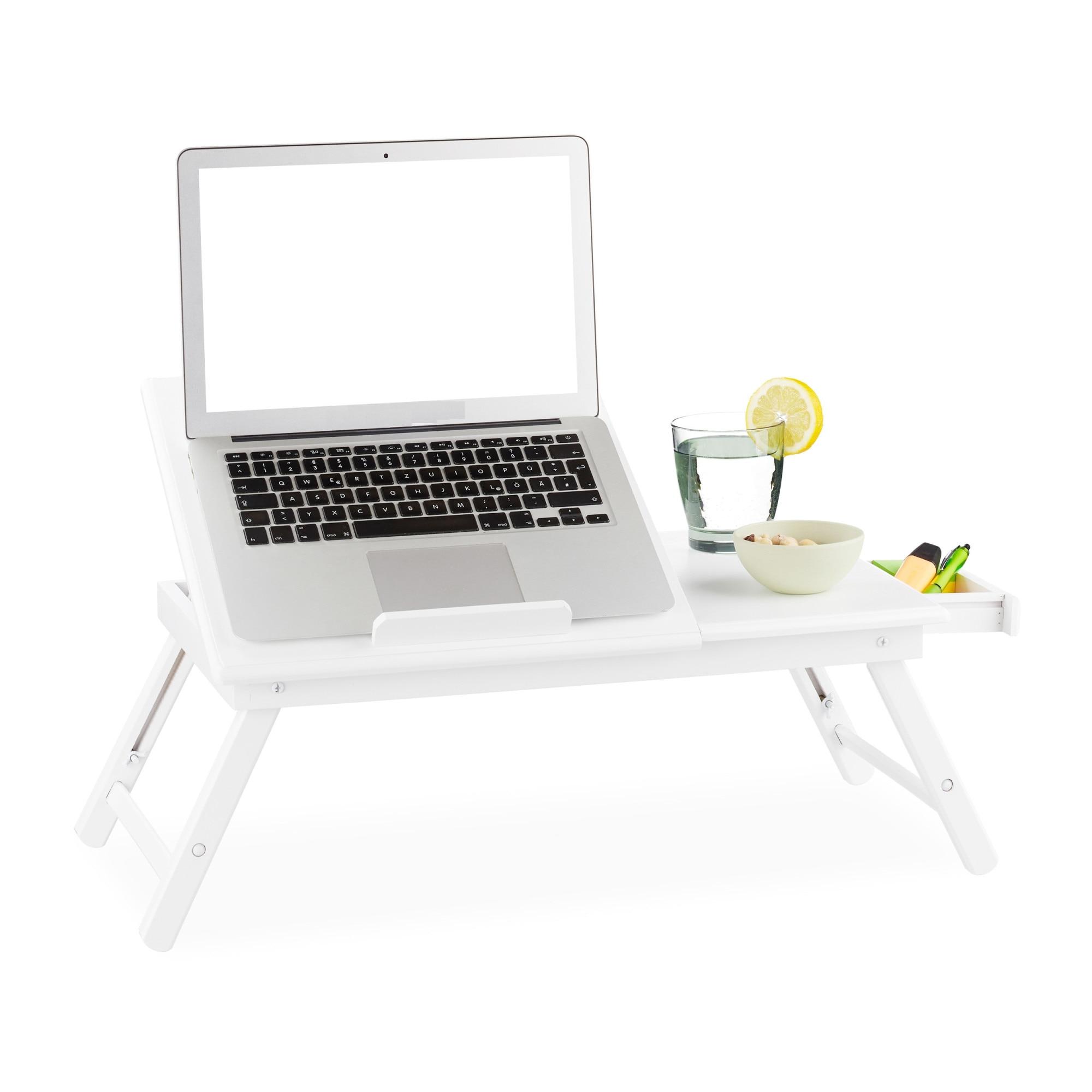 ZOTRA Bambusz Laptop Asztal Laptop Tartó Asztal és Állvány