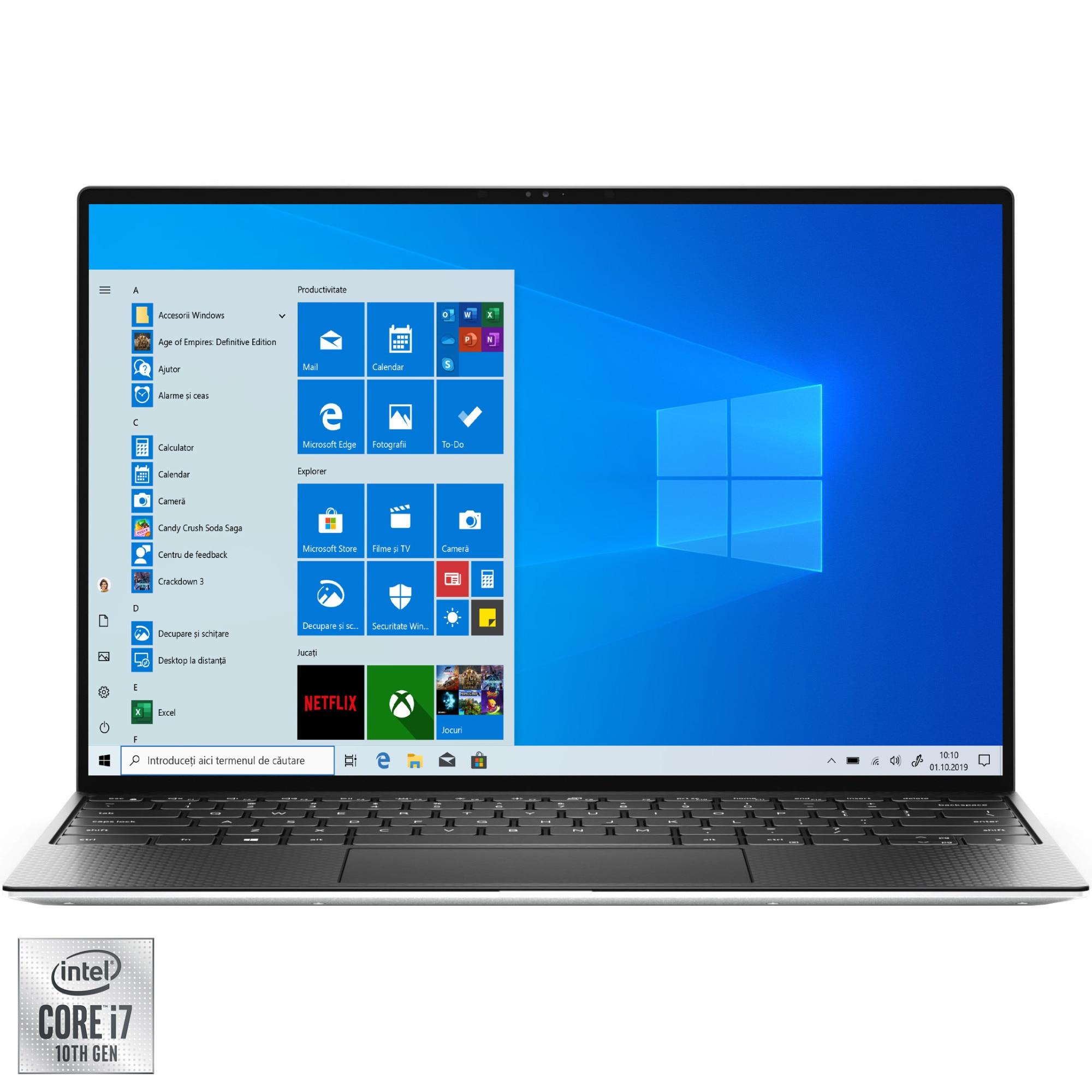 "Fotografie Laptop ultraportabil Dell XPS 13 9300 cu procesor Intel Core i7-1065G7 pana la 3.90 GHz, 13.4"", Full HD, 8GB, 512GB, Intel Iris Plus Graphics, Windows 10 Pro, Platinum silver"