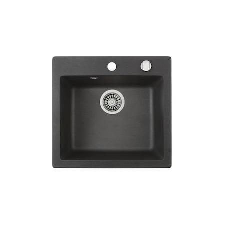 """Teka Clivo 50 STQ (metál fekete) gránit mosogatótálca megfordítható, 3½"""" lefolyócsomag dugóemelő nélkül 40148010"""