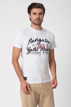 Geographical Norway, Jailor feliratos póló hímzett részletekkel, Fehér