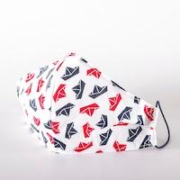 3 rétegű mosható textil maszk G3 szűrővel - kis hajós - M (női) méret