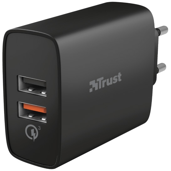 Fotografie Incarcator retea Trust Qmax Ultra-Fast, Dual USB, QC3.0, 30W, Black