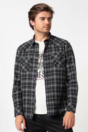Diesel, East hosszú ujjú kockás ing, Sötétszürke/Fekete/Törtfehér, XL