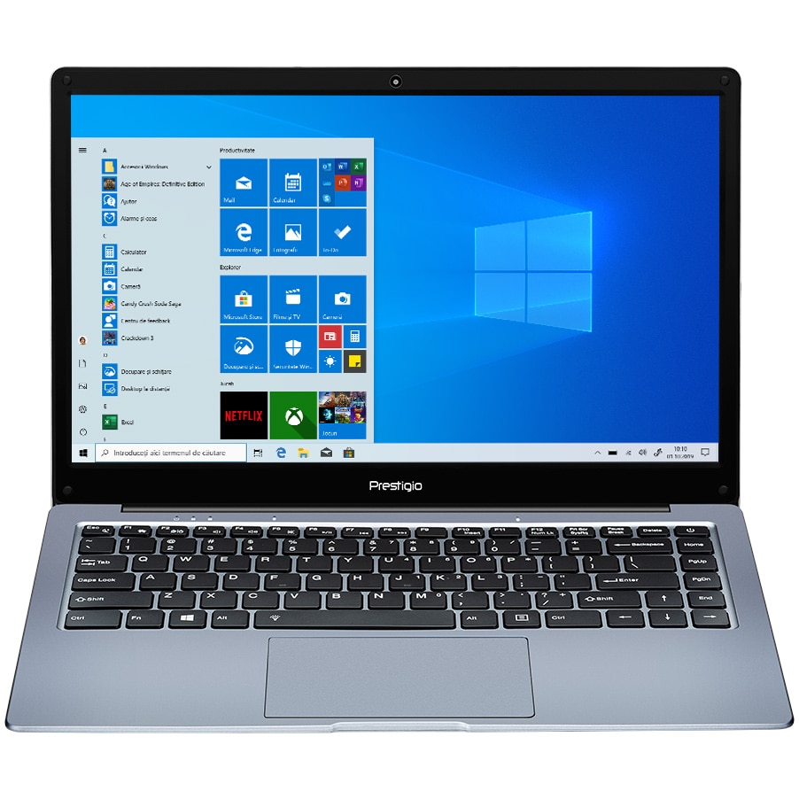 "Fotografie Laptop ultraportabil Prestigio SmartBook 141 C4 cu procesor AMD A4-9120e pana la 2.50 GHz, 14.1"", Full HD, 4GB, 64GB eMMc, AMD Radeon R3 series, Windows 10 Pro, Dark Grey"