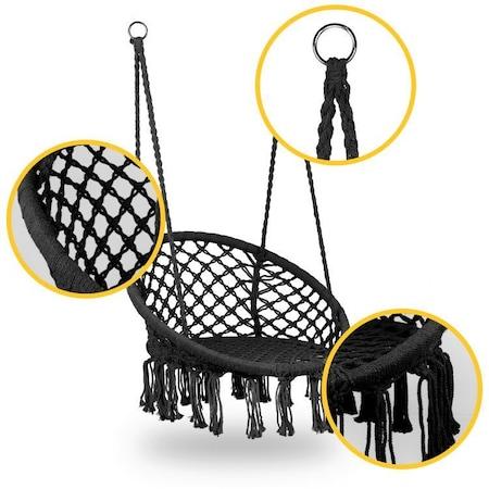 Scaun Modernhome, tip leagan suspendat, pentru casa sau gradina, rotund, cu franjuri, max 150kg, negru