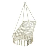 Хамак тип стол Modernhome, Окачен, За вкъщи или градина, Правоъгълен, С ресни, Допустимо тегло 150кг, Бял