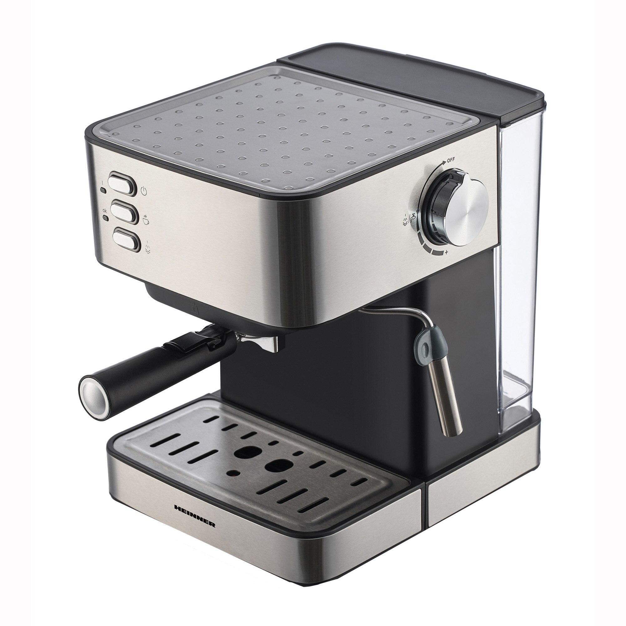 Fotografie Espressor Heinner HEM-B2016BKS, 850W, 20 bar, rezervor apa detasabil 1.6l, filtru din inox, plita mentinere cafea calda, decoratii inox