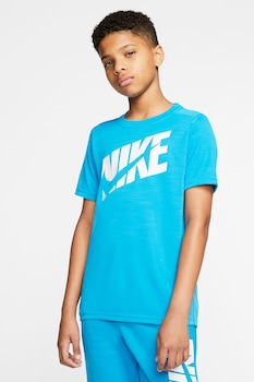 Nike, Фитнес тениска с лого, Син/Бял