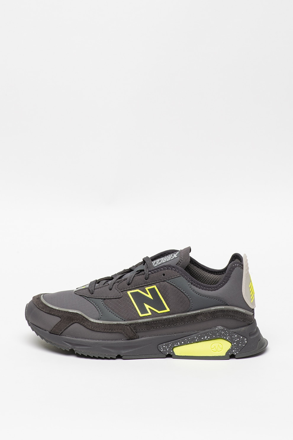 New Balance, Pantofi sport cu insertii de piele intoarsa X Racer, Gri inchis/Verde neon, 8