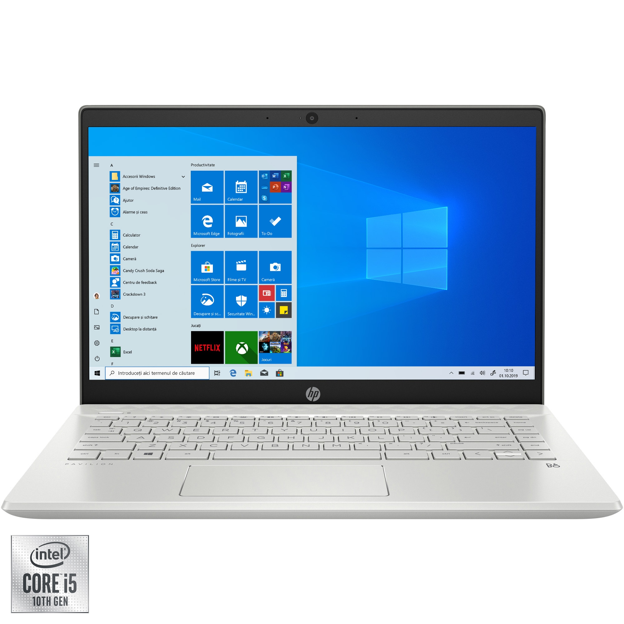"Fotografie Laptop ultraportabil HP Pavilion 14-ce3013nq cu procesor Intel Core i5-1035G1 pana la 3.60 GHz, 14"", Full HD, 16GB, 512GB SSD, Nvidia GeForce MX130 2GB, Windows 10 Home, Mineral silver"