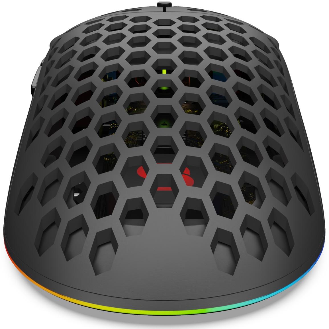 SPC Gear LIX Gaming egér, ultrakönnyű 59g, Honeycomb struktúra, ARGB világítás, paracord kábel, Fekete vb7ac2