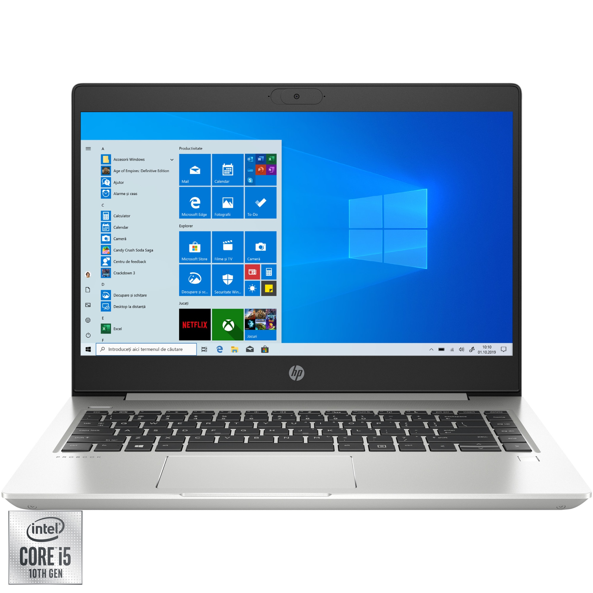 "Fotografie Laptop ultraportabil HP ProBook 440 G7 cu procesor Intel Core i5-10210U pana la 4.20 GHz, 14"", Full HD, 8GB, 512GB SSD, Intel UHD Graphics, Windows 10 Pro, Silver"