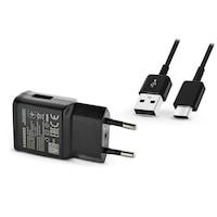 Samsung gyári USB hálózati töltő adapter + USB Type-C adatkábel - 5V/2A - EP-TA200EBE + EP-DG950 Type-C black (ECO csomaglás)