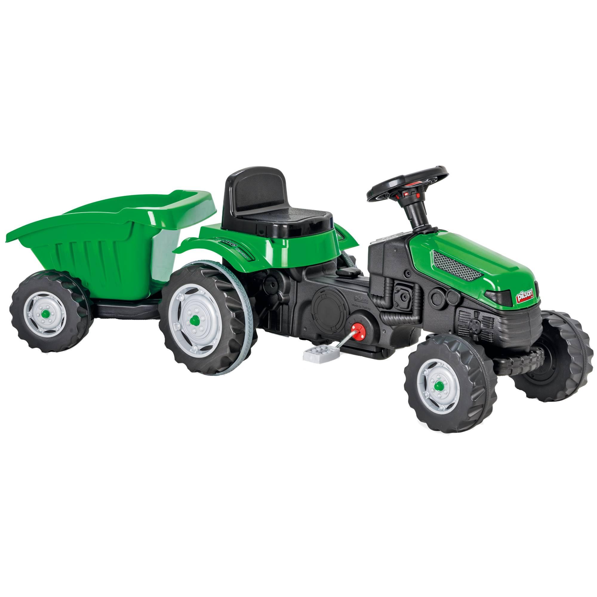 Fotografie Tractor cu pedale si remorca pentru copii Pilsan, verde