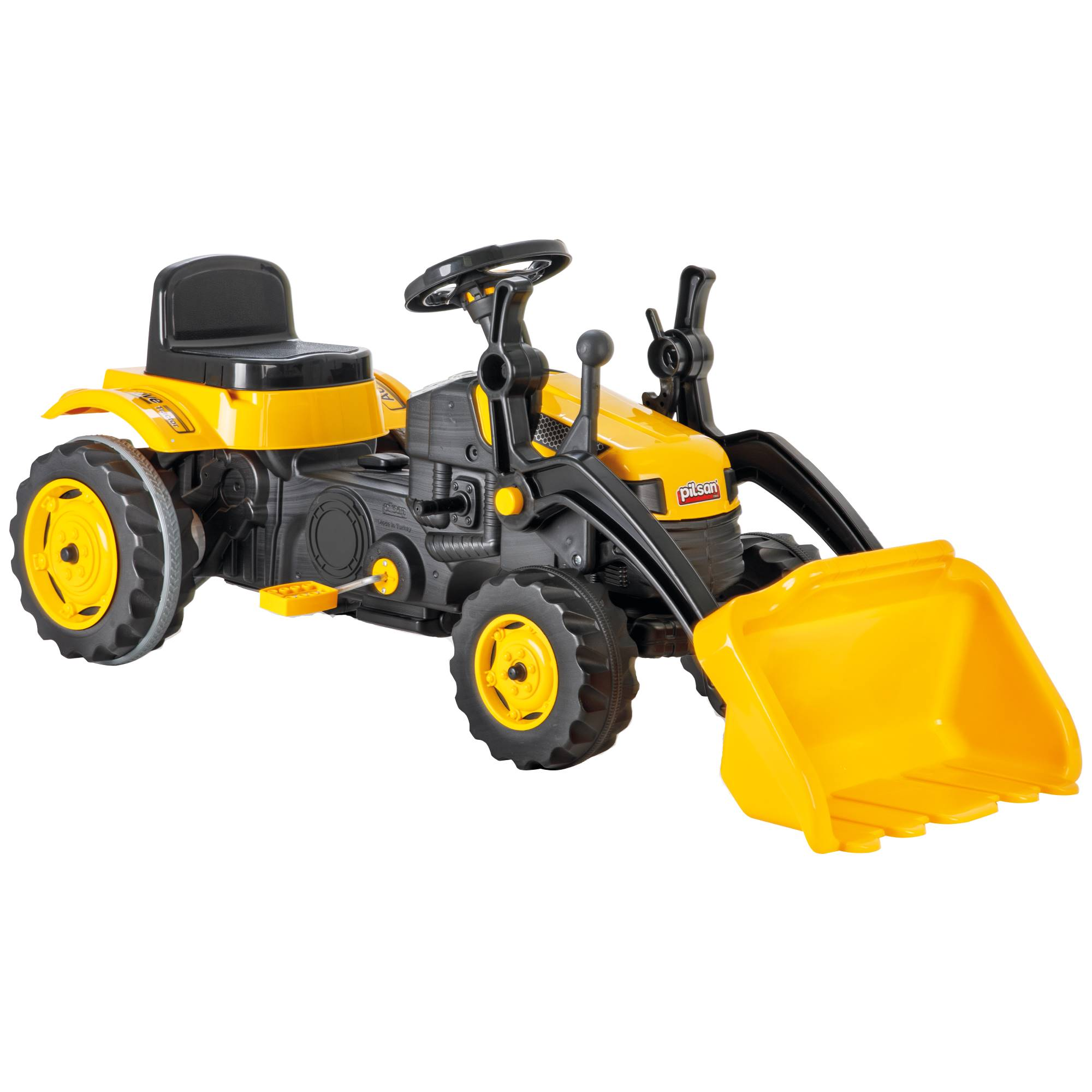 Fotografie Tractor cu pedale pentru copii Pilsan, cu cupa, galben