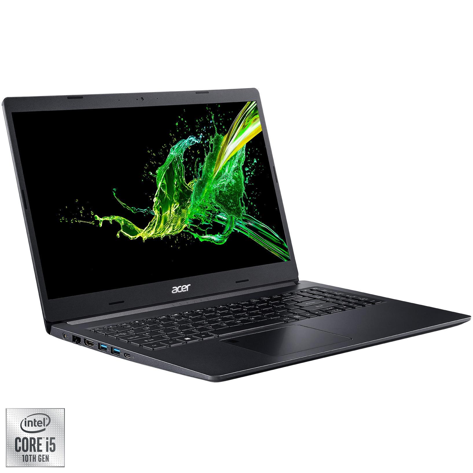 "Fotografie Laptop Acer Aspire 5 A515-55 cu procesor Intel® Core™ i5-1035G1 pana la 3.60 GHz, 15.6"", Full HD, 8GB, 512GB SSD, Intel UHD Graphics, No OS, Black"